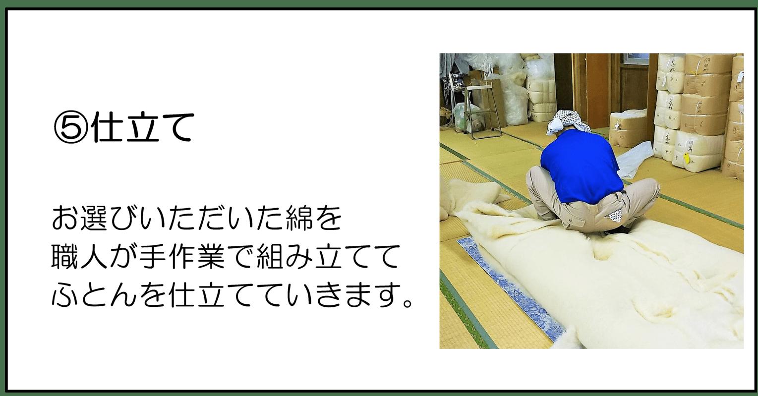 ⑤仕立て、お選びいただいた綿を職人が手作業で組み立ててふとんを仕立てていきます。