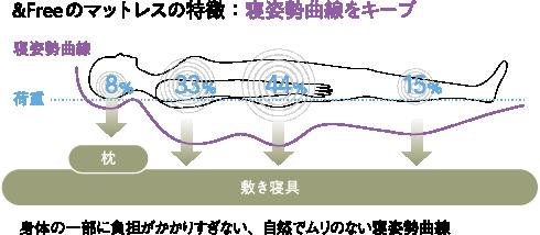 &Freeのマットレスの特徴:寝姿勢曲線をキープ(身体の一部に負担がかかりすぎない自然でムリのない寝姿勢曲線)