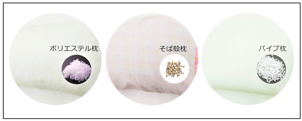 昔の枕素材3タイプ