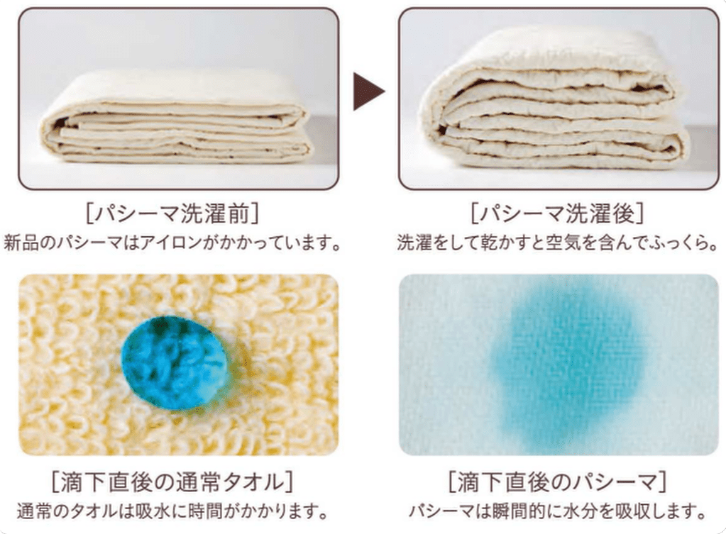 パシーマ洗濯前と後を比較する画像
