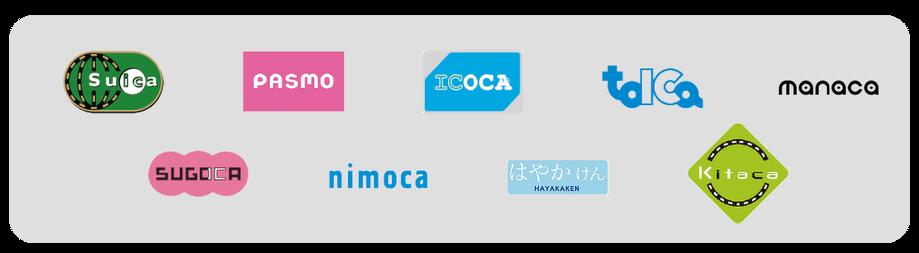 交通系ICサービス(suica、pasmo、icoca、toica、manaca、sugoca、nimoca、はやかけん、kitaca)