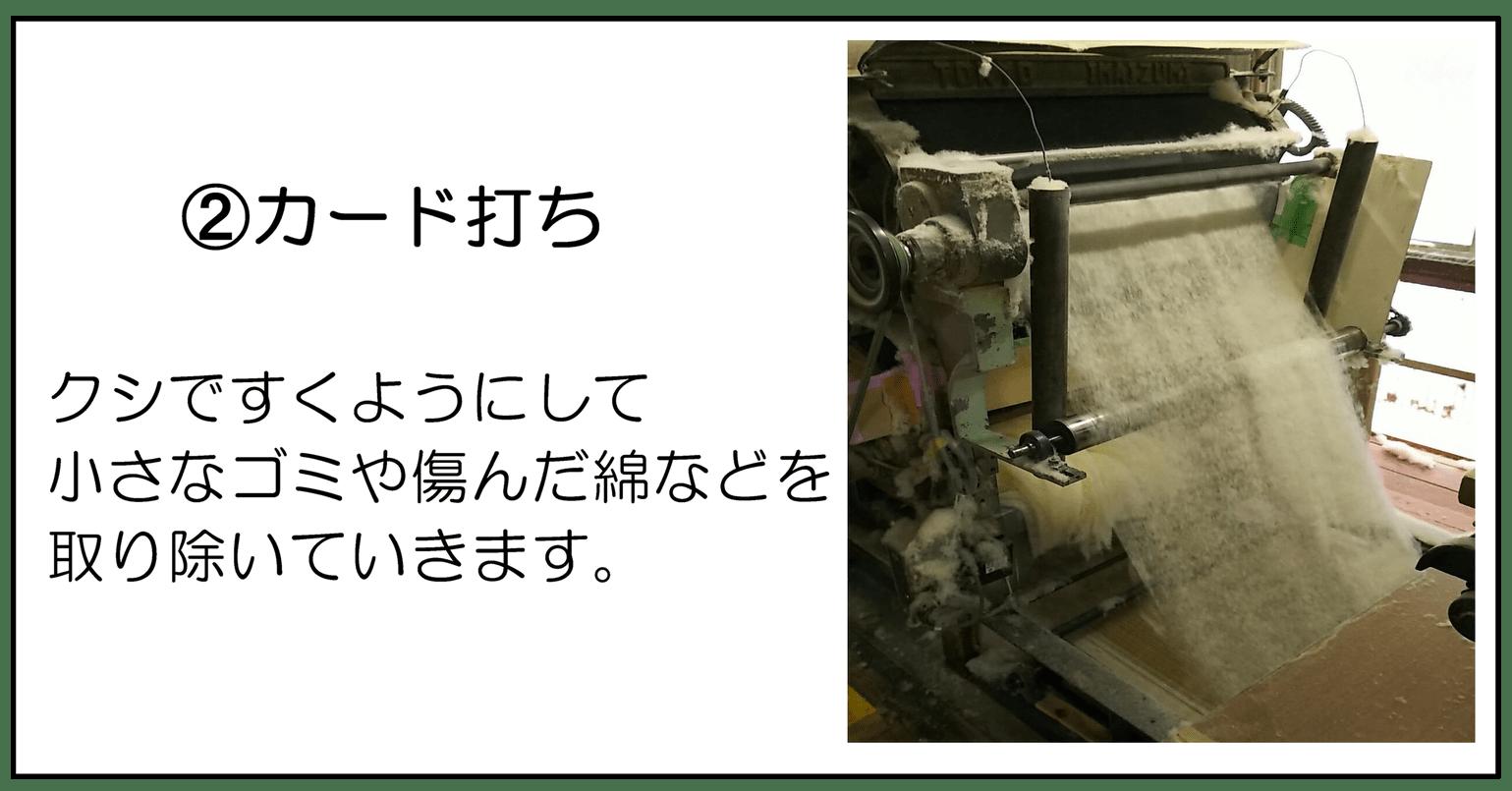➁カード打 クシですくようにして小さなゴミや傷んだ綿などを取り除いていきます。
