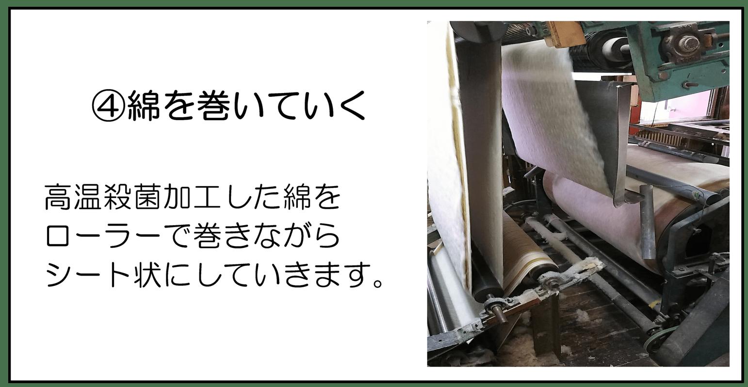④綿を巻いていく 高温殺菌加工した綿をローラーで巻きながらシート状にしていきます。